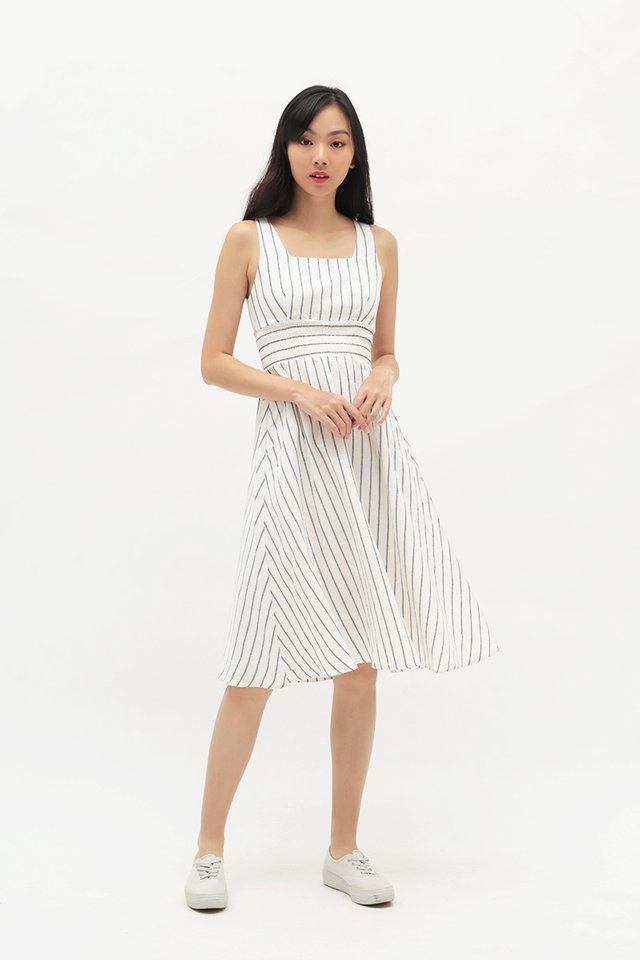 ABIGAIL STRIPE RUCHED DRESS IN WHITE
