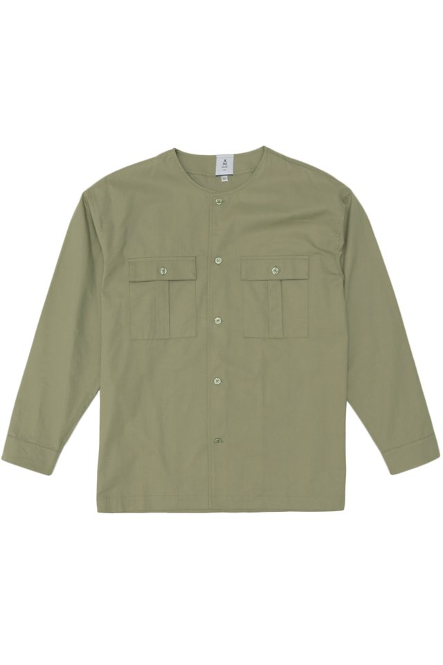 ADAM ROUND NECK POCKET SHIRT IN SAGE