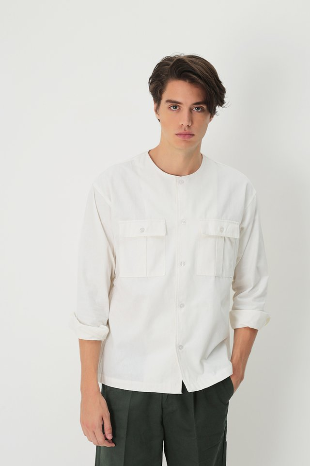 ADAM ROUND NECK POCKET SHIRT IN WHITE