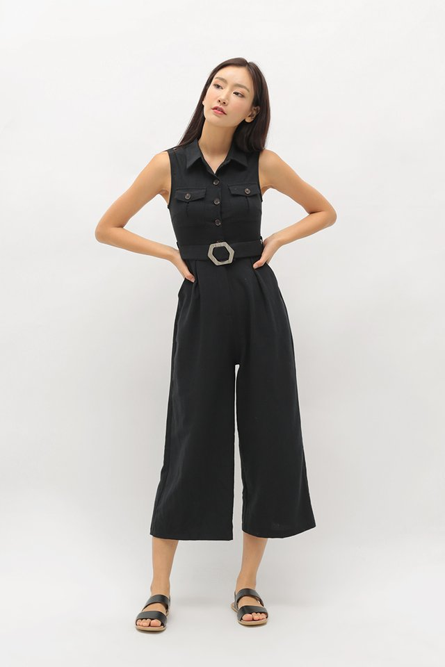ADRIANNA BUTTON JUMPSUIT IN BLACK