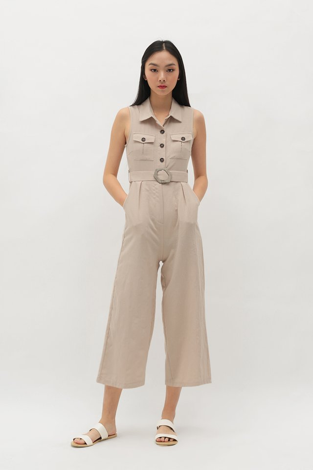 ADRIANNA BUTTON JUMPSUIT IN CREAM