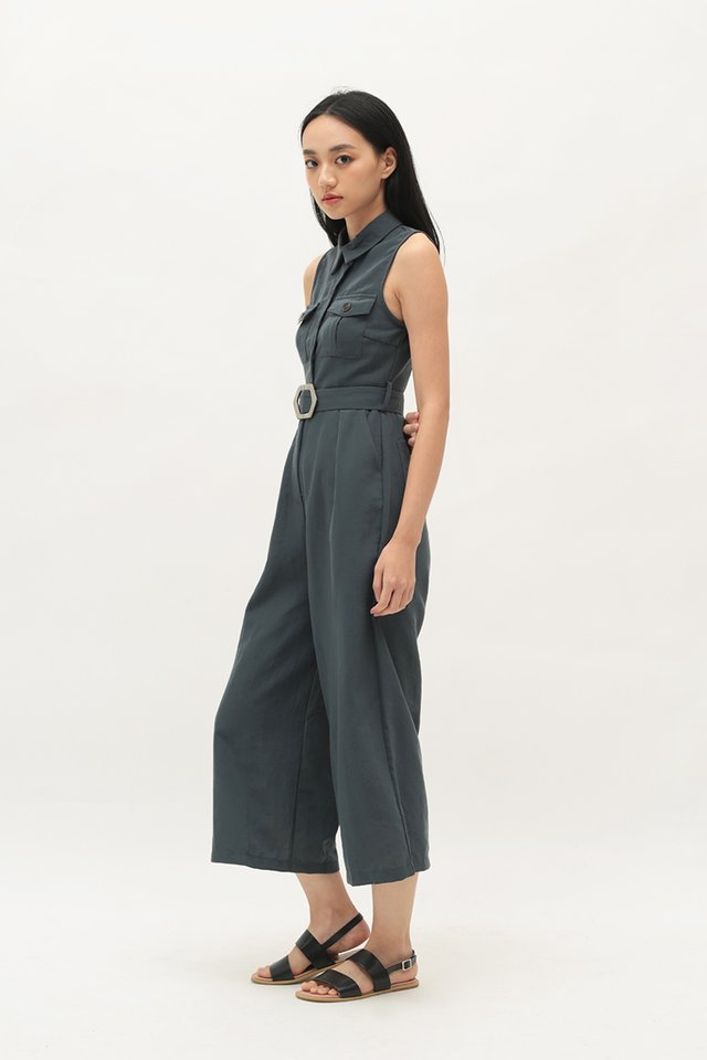 ADRIANNA BUTTON JUMPSUIT IN PERSIAN BLUE