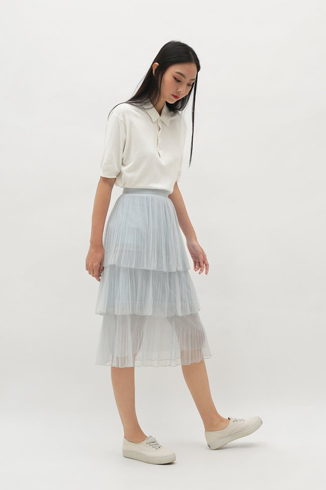 ARABELLE TULLE SKIRT IN CLOUD GREY