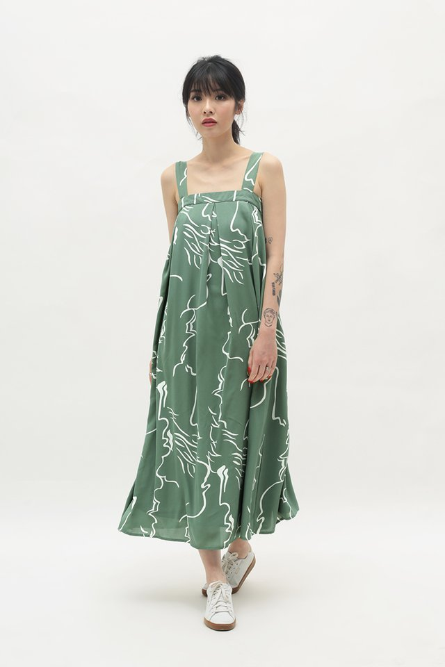 ELEANOR ABSTRACT PLEATED DRESS IN SAGE