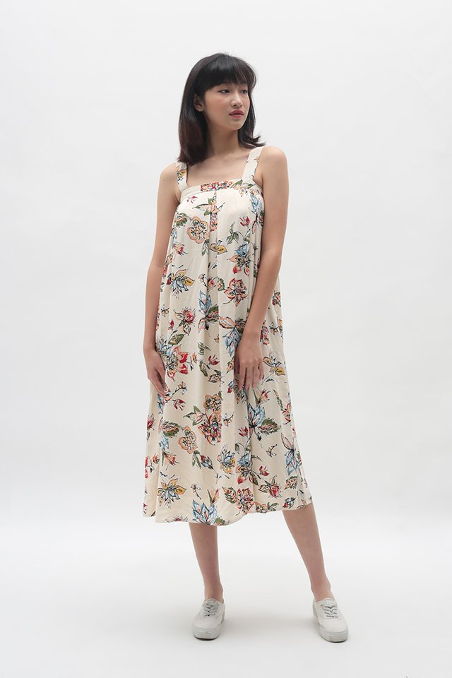 ELEANOR FLORAL PLEATED DRESS IN CREAM