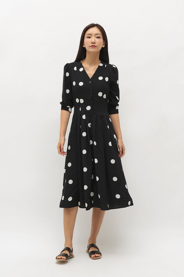 FRANCINE POLKADOT BUTTON DRESS IN BLACK