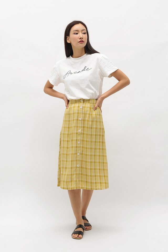 GABBY CHECKERED MIDI SKIRT IN CANARY