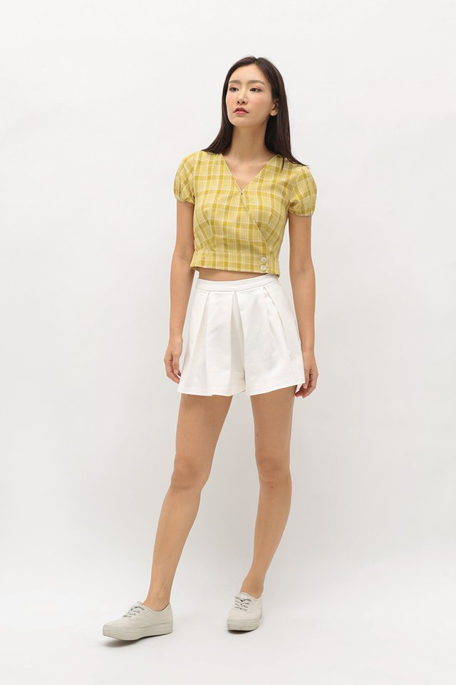 GAYLE CHECKERED WRAP TOP IN CANARY