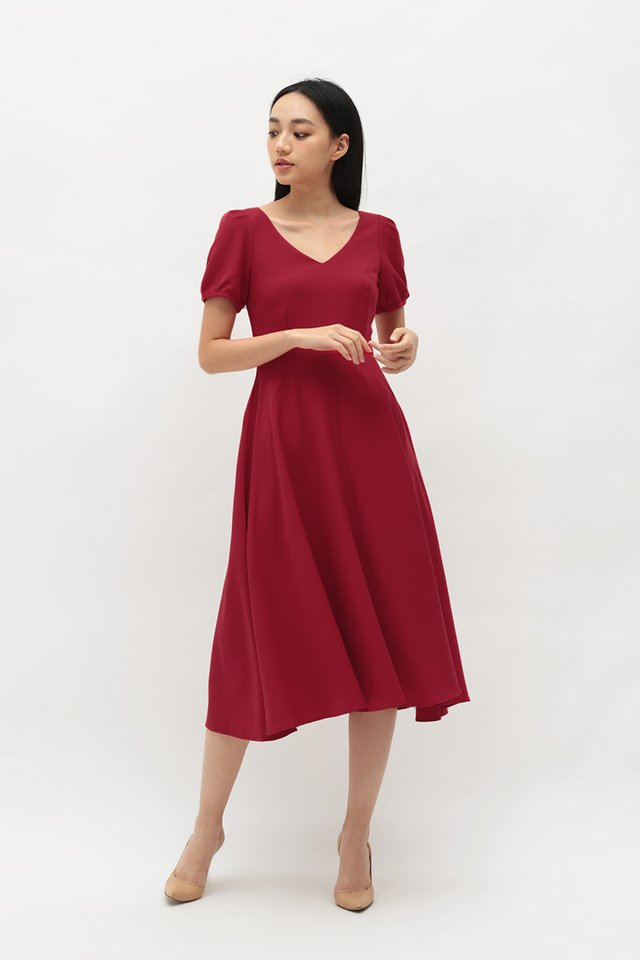 HARPER MIDI DRESS IN AURORA RED