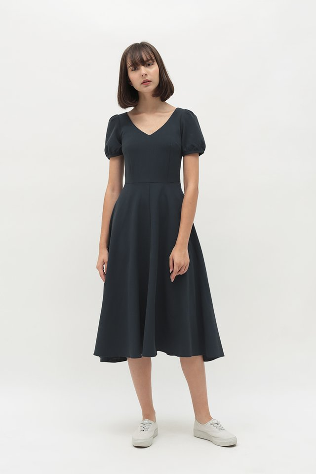 HARPER MIDI DRESS IN NAVY