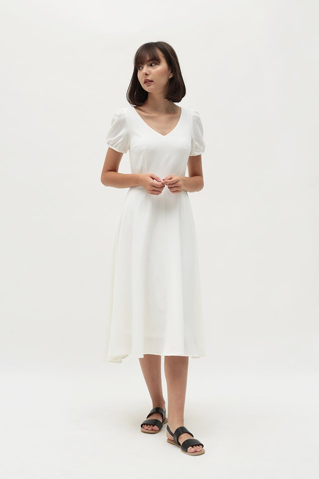 HARPER MIDI DRESS IN WHITE