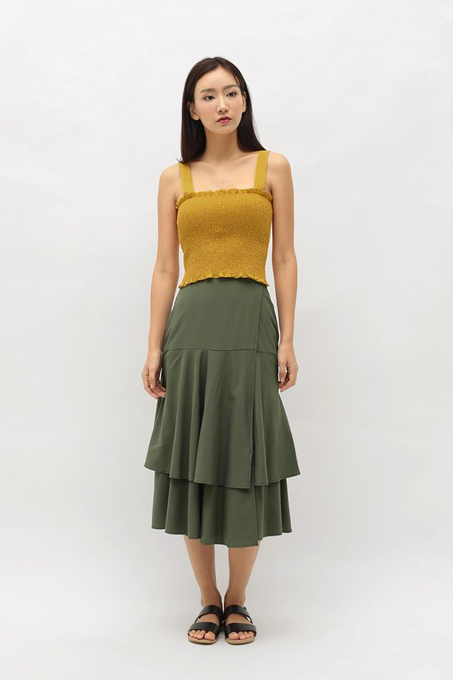 HARRIET WRAP SKIRT IN OLIVE