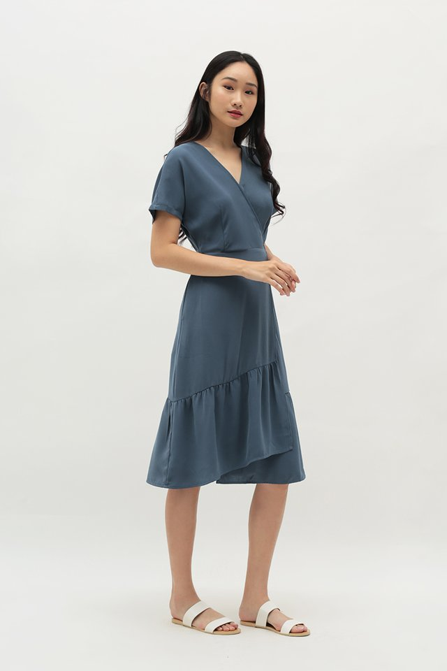 HILARY WRAP DRESS IN DUSK BLUE