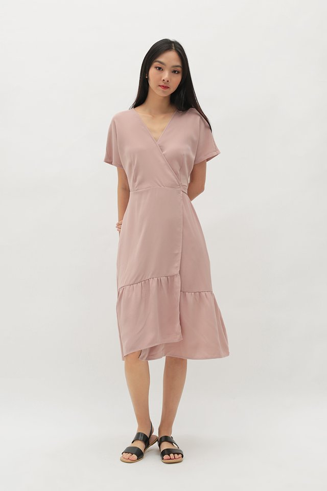 HILARY WRAP DRESS IN FRENCH PINK
