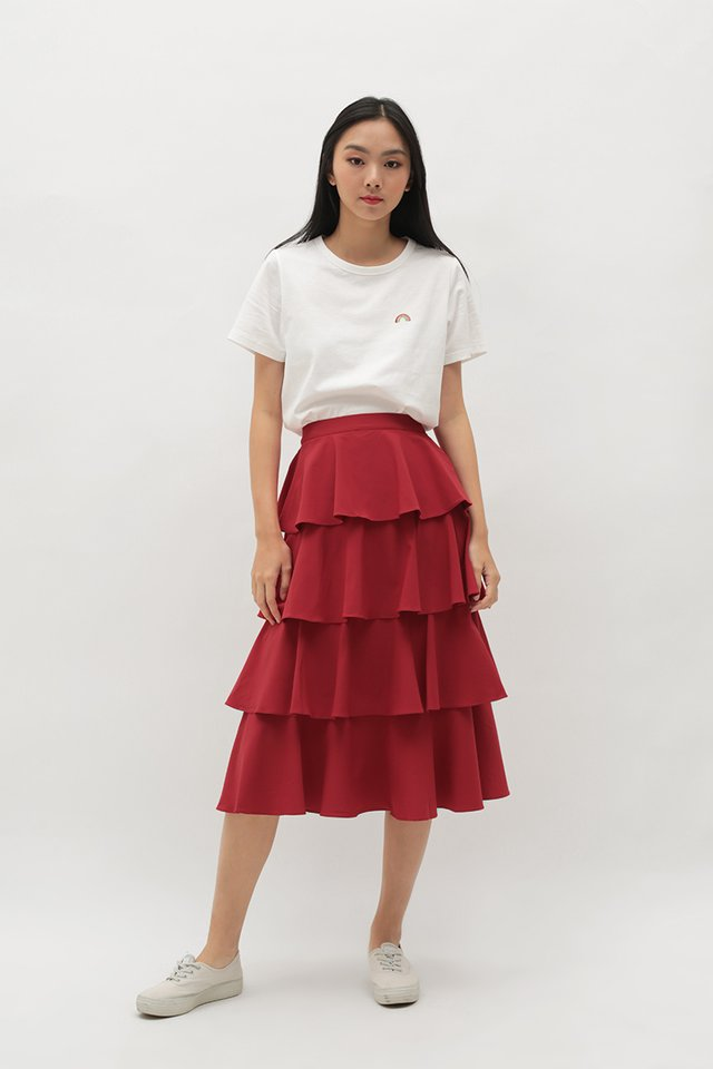ICING ON THE CAKE MIDI SKIRT IN AURORA RED