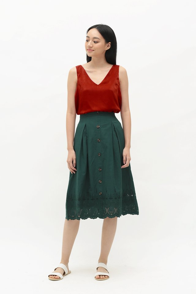 KASSIDY EYELET MIDI SKIRT IN FOREST