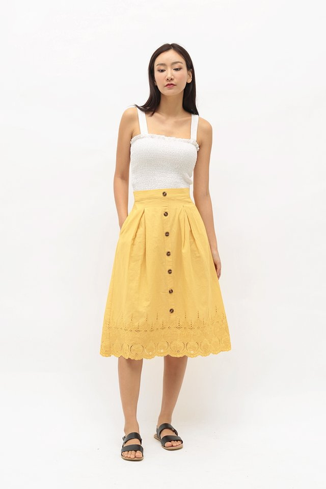 KASSIDY EYELET MIDI SKIRT IN PRIMROSE YELLOW