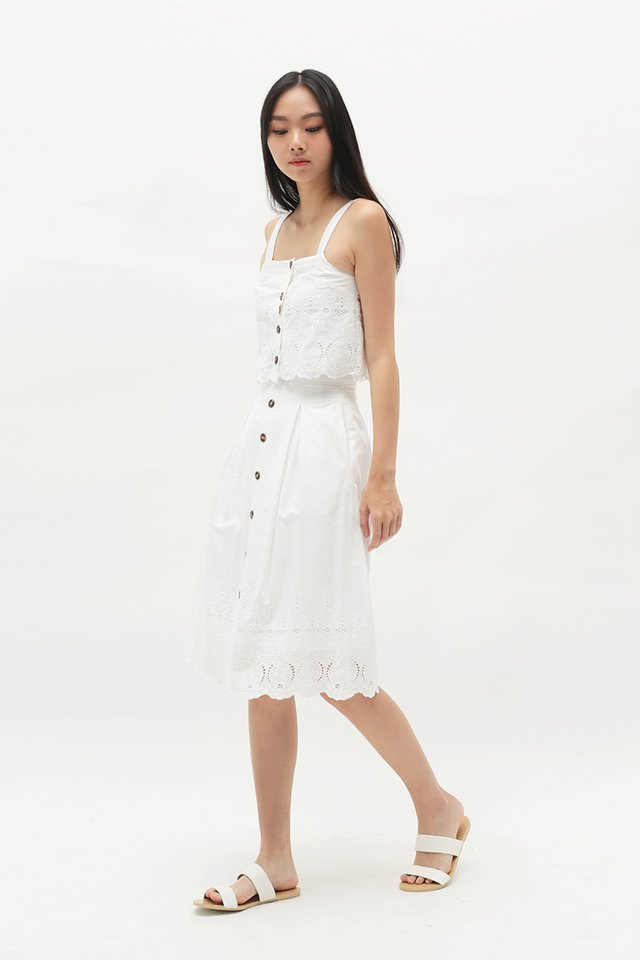 KASSIDY EYELET MIDI SKIRT IN WHITE