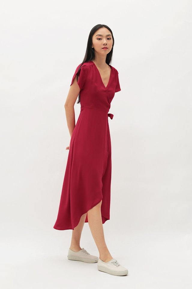 KATE OVERLAP WRAP DRESS IN AURORA RED