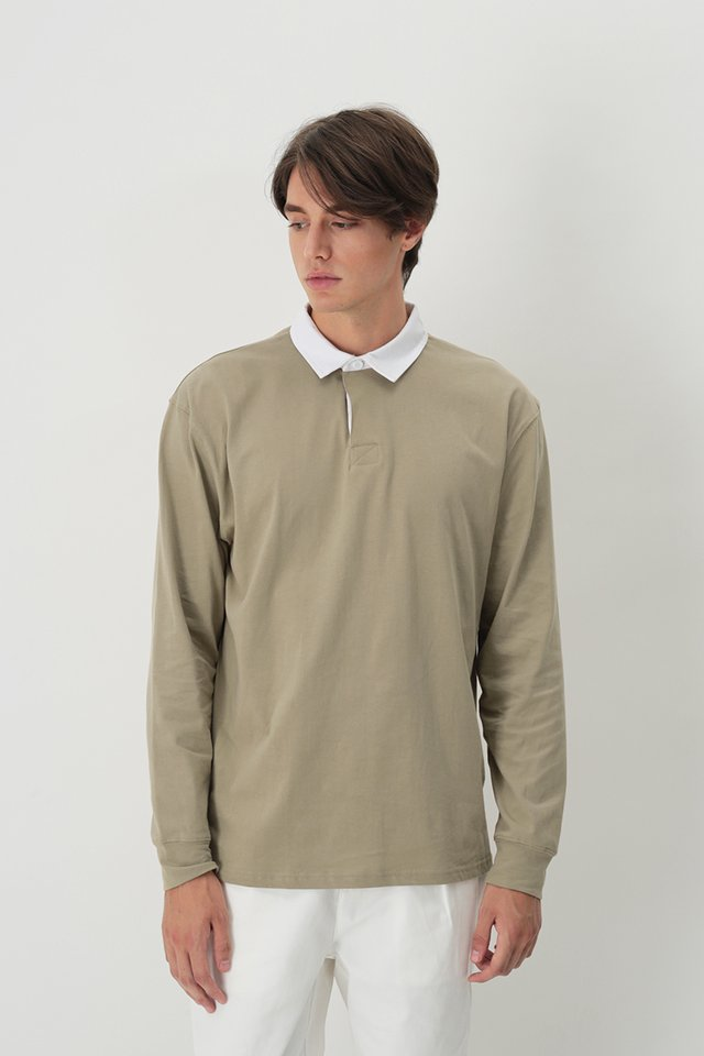 LIAM LONG SLEEVE RUGBY POLO IN SAND