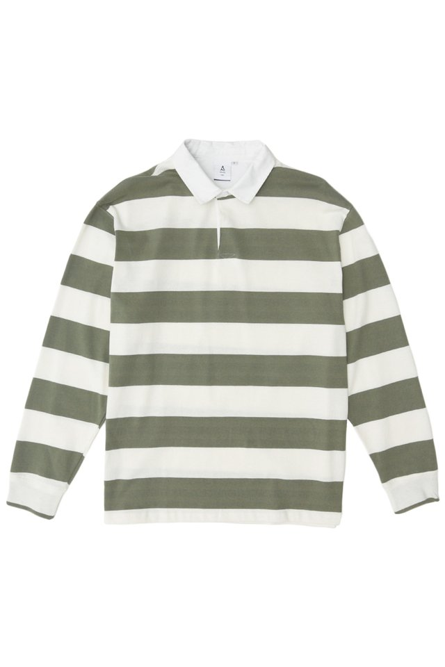 LIAM LONG SLEEVE STRIPED RUGBY POLO IN MOSS/WHITE