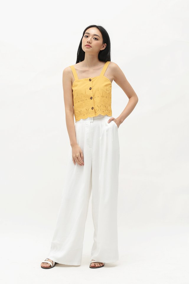 LUCIANA EYELET TOP IN PRIMROSE YELLOW