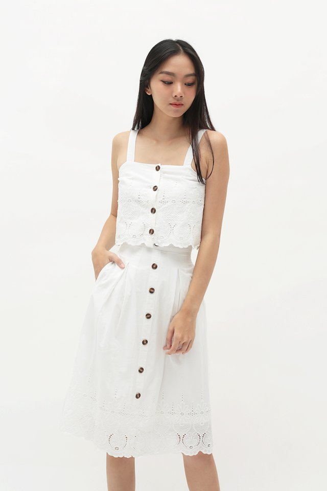 LUCIANA EYELET TOP IN WHITE