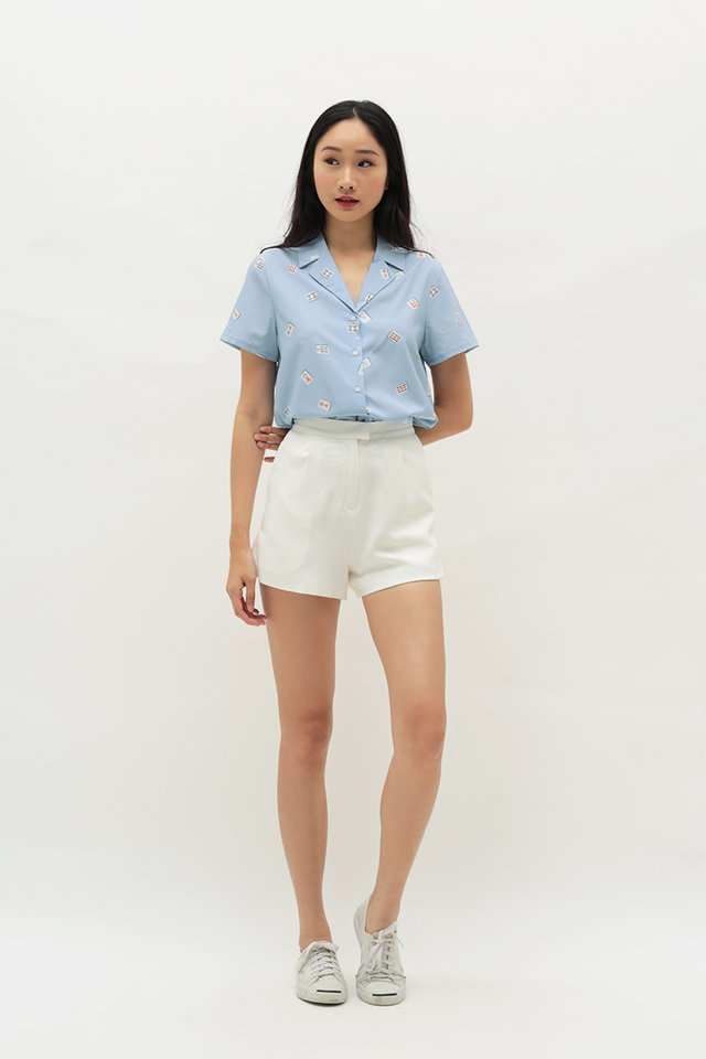MAHJONG CLUB CAMP COLLAR SHIRT IN SKY