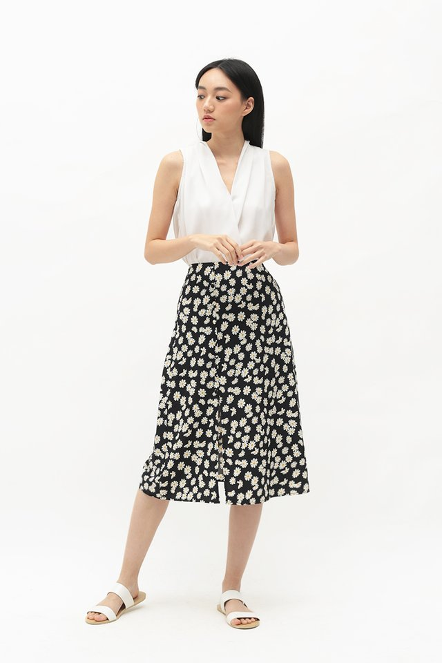 MONICA FLORAL A-LINE SKIRT IN BLACK