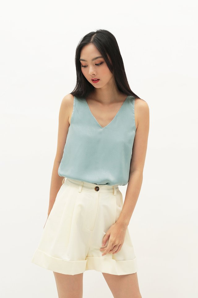 SKYE V-NECK TANK TOP IN PEARL BLUE