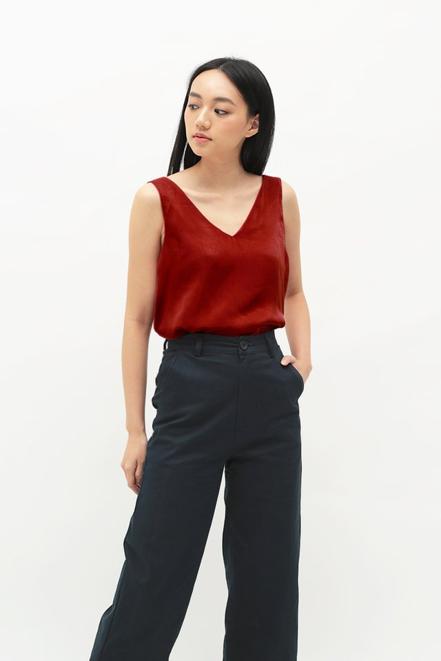 SKYE V-NECK TANK TOP IN RED