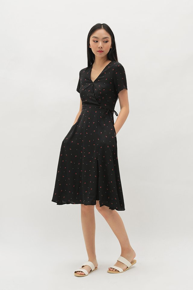 VANDRA TULIP MIDI DRESS IN BLACK