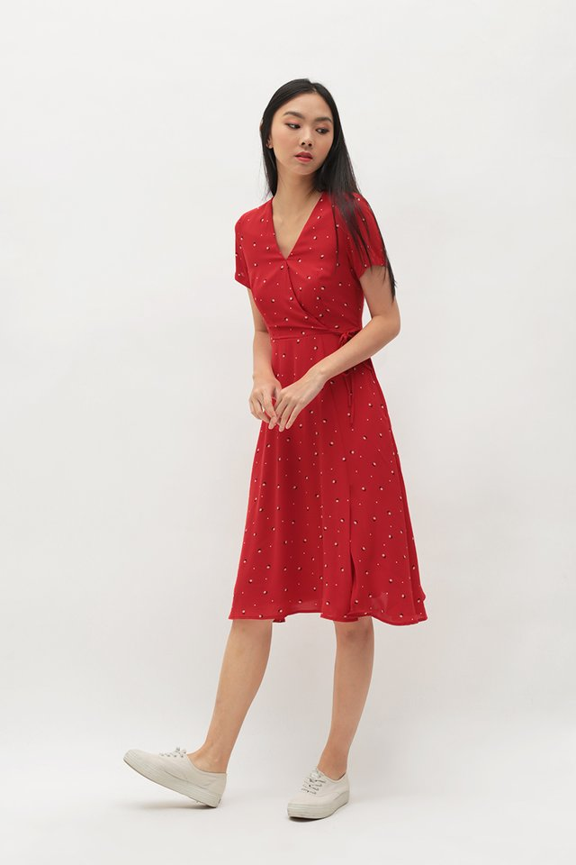 VANDRA TULIP MIDI DRESS IN RED