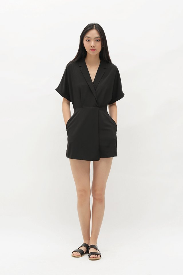 VIOLETTE CAMP COLLAR ROMPER DRESS IN BLACK