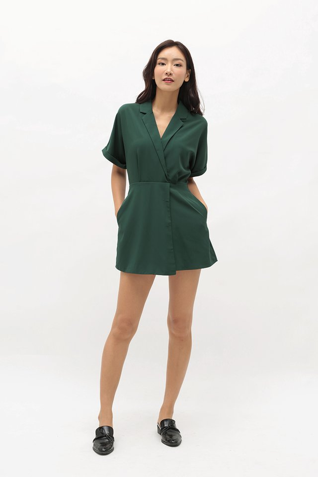 VIOLETTE CAMP COLLAR ROMPER DRESS IN FOREST