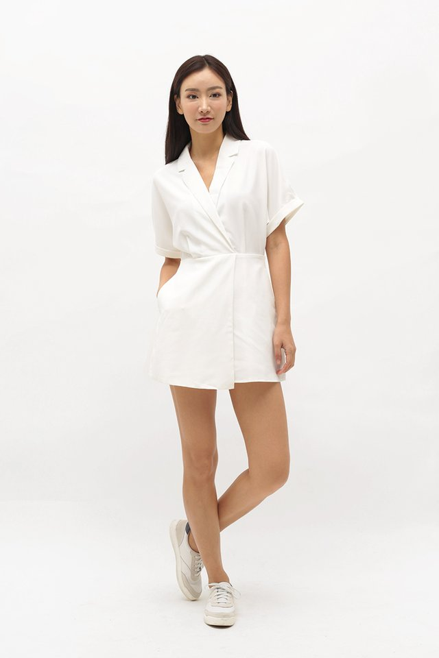 VIOLETTE CAMP COLLAR ROMPER DRESS IN WHITE