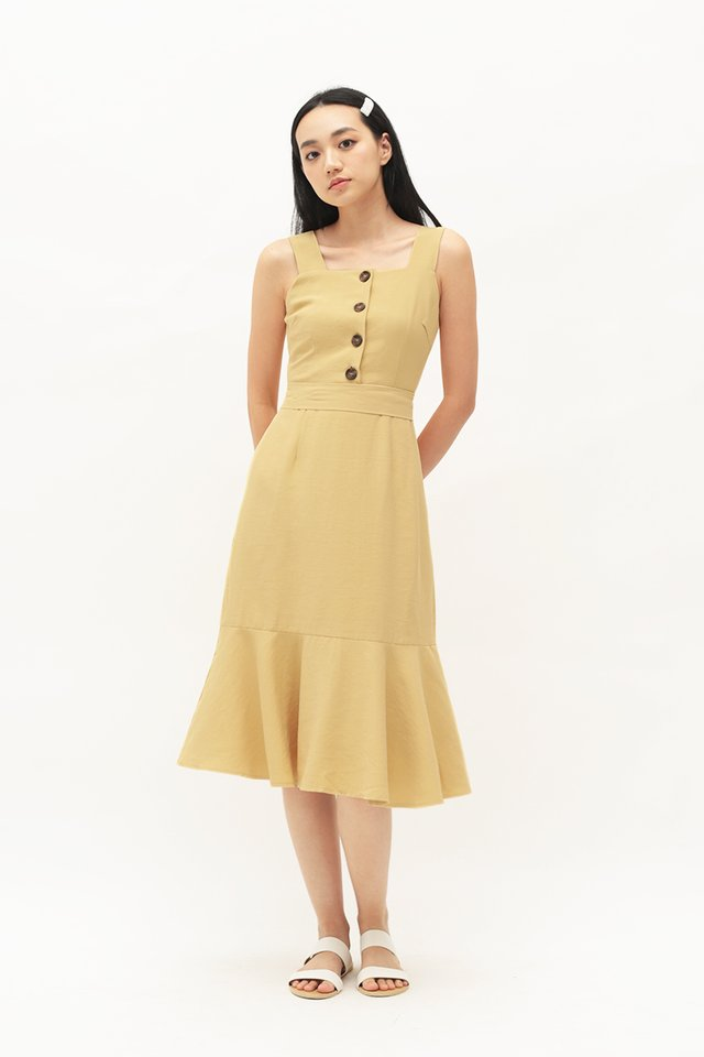 YARA DROP HEM DRESS IN PRIMROSE YELLOW