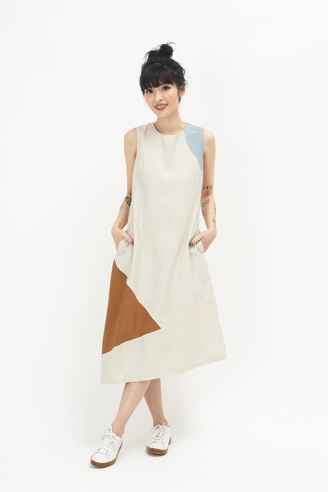 CHRISTELLE COLOURBLOCK DRESS IN CREAM