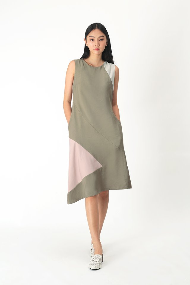 CHRISTELLE COLOURBLOCK DRESS IN NUTMEG