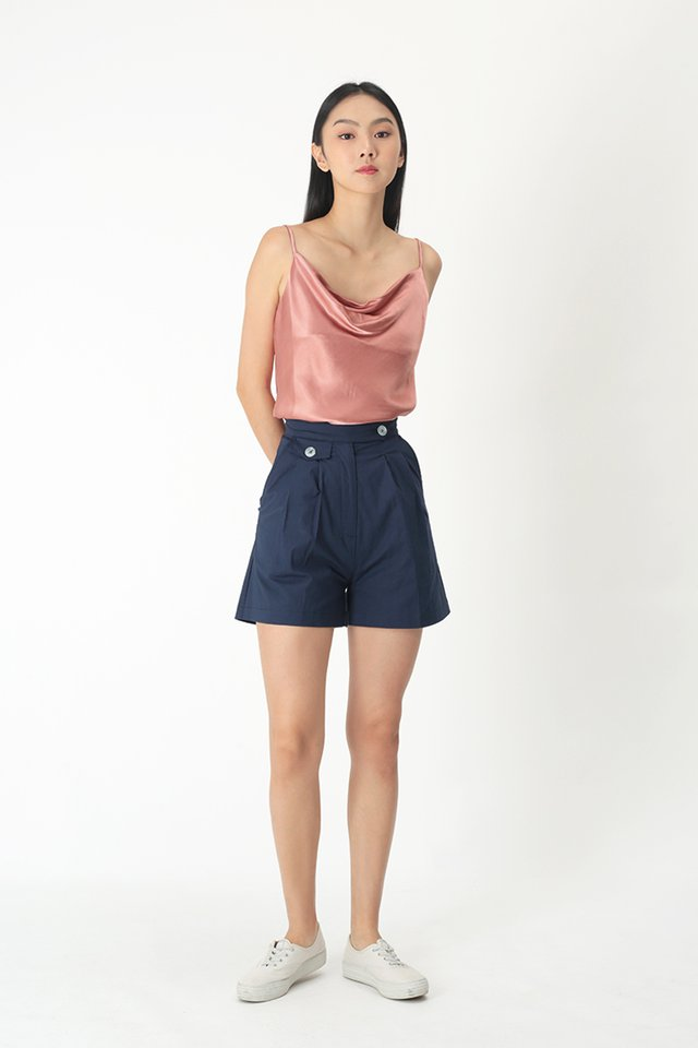 CLEMENTINE COWL NECK TOP IN PEARL PINK