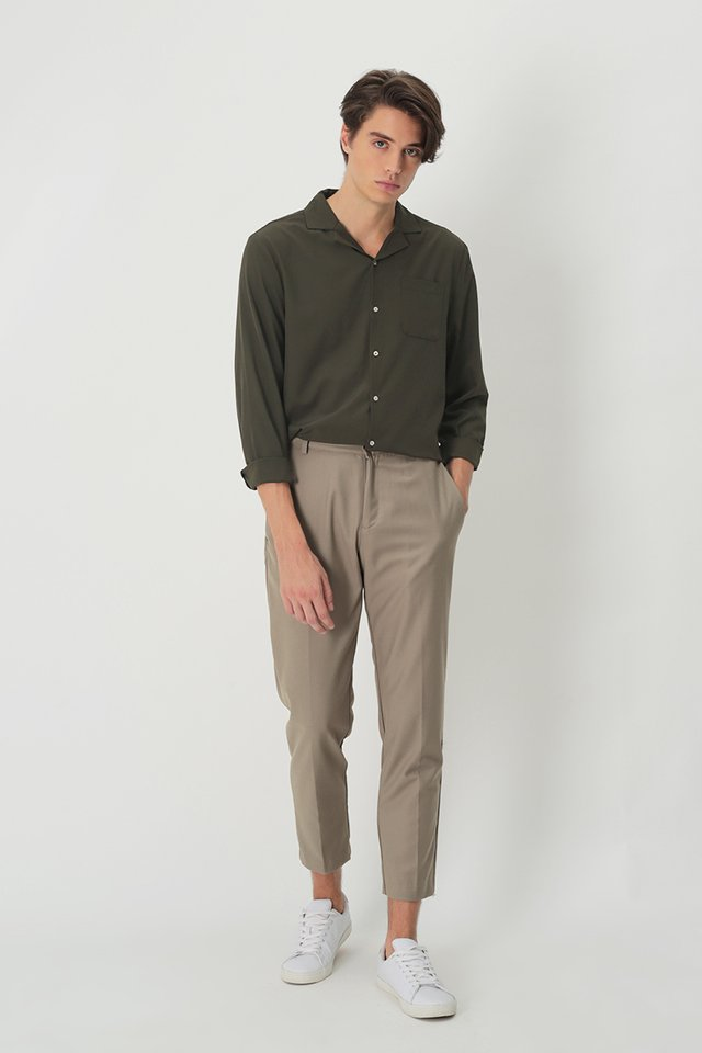DEAN SLIM-FIT TROUSERS IN TAUPE