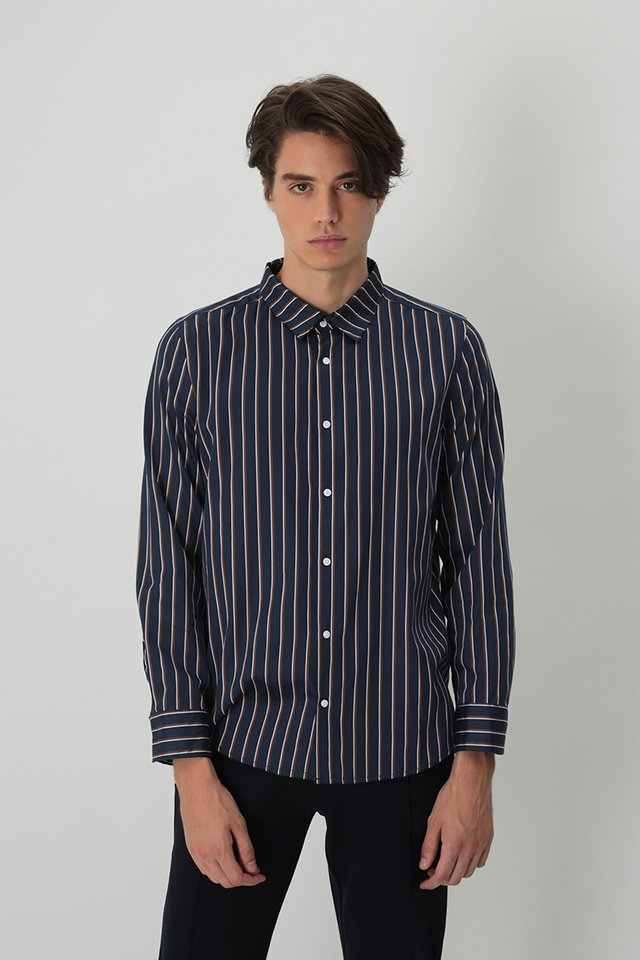 DORIAN LONG SLEEVE SHADOW STRIPE SHIRT IN BROWN STRIPES