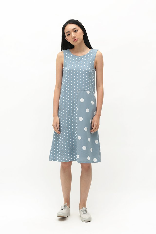 DOT TO DOT MIDI DRESS IN DUSK BLUE