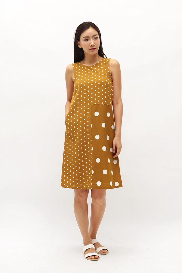 DOT TO DOT MIDI DRESS IN MUSTARD