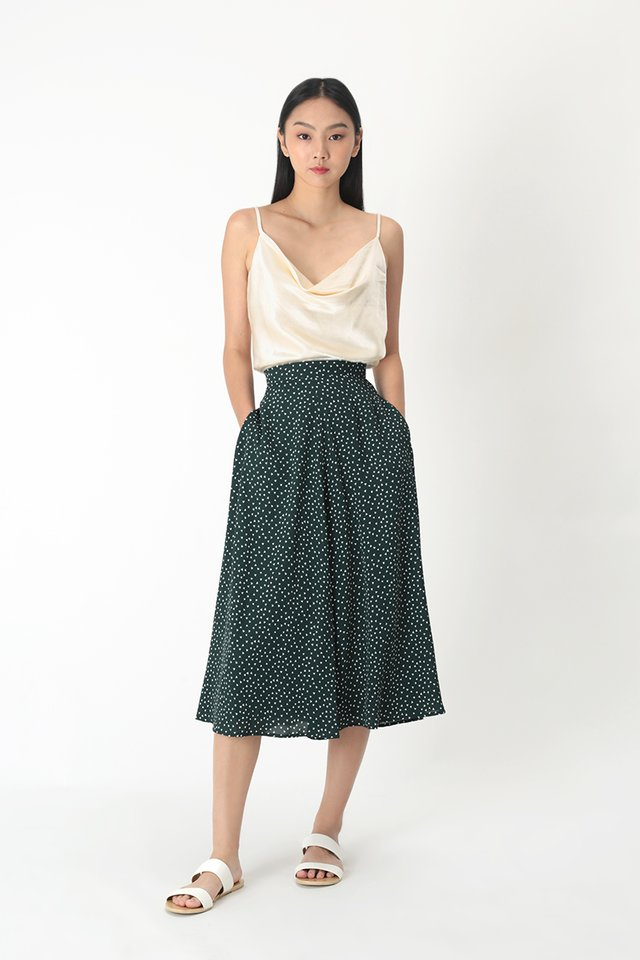 FRANCESCA GEOMETRIC MIDI SKIRT IN FOREST