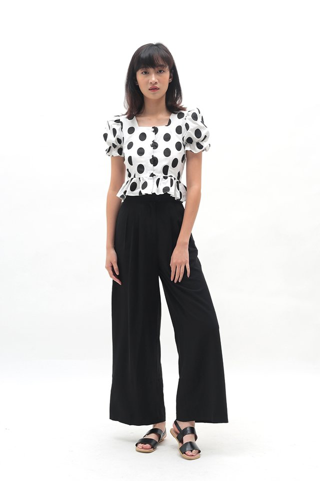GEORGINA POLKADOT BLOUSE IN BLACK