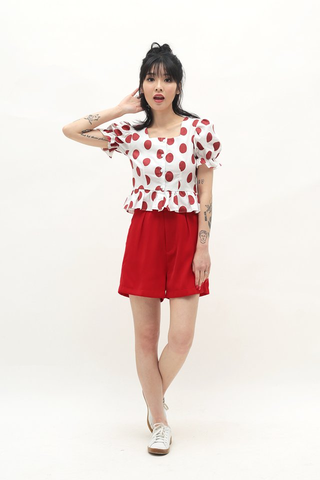 GEORGINA POLKADOT BLOUSE IN RED