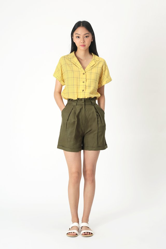 KIRA PAPERBAG SHORTS IN OLIVE