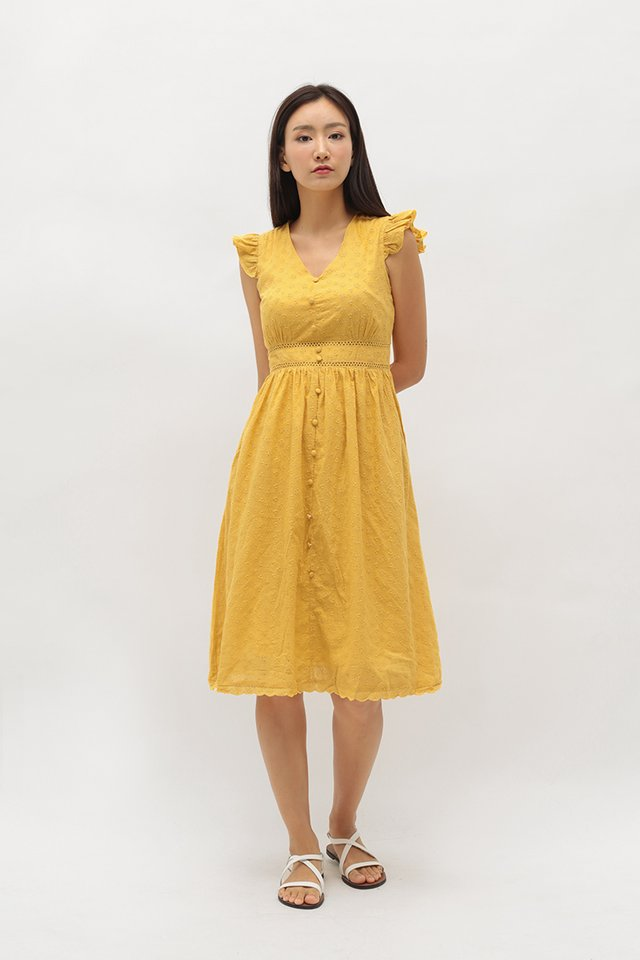 LORI EYELET DRESS IN HONEY