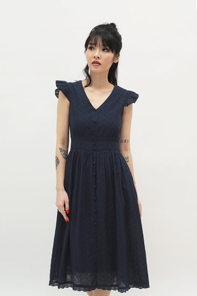 LORI EYELET DRESS IN NAVY